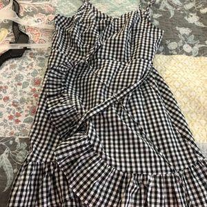 Gingham Print Wrap Dress